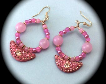 OOAK Pink Hoops with Rhinestone Element drop Long Dangle Hoop Style Earrings Fashion Boho Native Hippie Tribal Ethnic African Cottage Chic