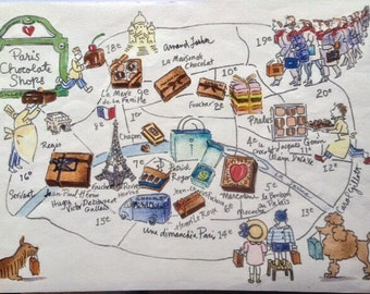 Chocolate shop Paris map shipped flat from France