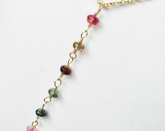 Tourmaline Pendant, Gold Fill Gemstone Necklace, Tourmaline Rondelles, Colorful Pendant, Multi colored Tourmaline