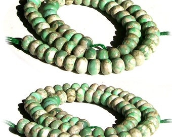 MERZIEs rare Utah VARISCITE 8mm green beige RONDELLE genuine natural stone 10 beads varisite varicite - SHIPs from USA - Combined Shipping