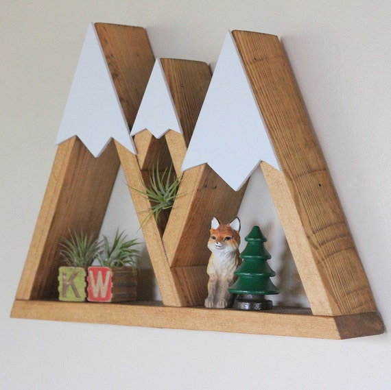 Mountain Shelf Triple Mountain Three Sisters Oregon Room Decor Snow Peak Mountain Forest Reclaimed Wood Triangle Geometric