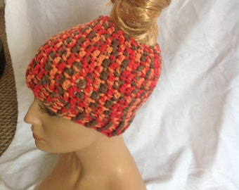 SALE - Spice Chunky Top knot/Messy Bun Hat