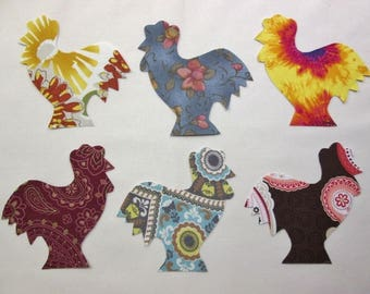 Set of 6 Lg  Rooster Chicken  Fusible Iron-on Cotton Fabric Appliques