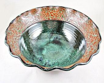 Large Handmade pottery serving bowl , Handmade Ceramic Bowl, modern home decor - In stock 70 SB