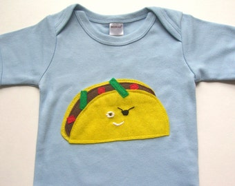 Taco Baby Onesie With Pirate Patch Size 3-6 months // Try the Taco Cleanse for a Perfect Baby Shower Gift