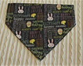 Easter Dog Bandana with Happy Easter in Over the Dog Collar Style Sizes XS to XL