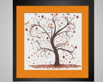 Autumn Tree - Downloadable PDF Cross Stitch Pattern fall tree falling leaves orange rust INSTANT DOWNLOAD