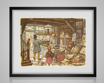 Cross Stitch Pattern The Bookshop Anton Pieck  pdf crossstitch tutorial vintage art  modern crossstitch  x stitch  INSTANT DOWNLOAD