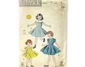 1950s Girls Princess Dress Pattern / Button-front Dress / Sailor Collar / Butterick 7594  / Size 3