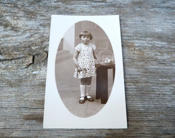 Vintage Antique 1920/20s French real photography postcard  girl