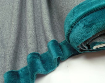 Happy Fleece uni gray dark turquoise 0.54yd (0,5m) 003006