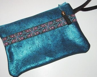 Sparkly Deep Turquoise LEATHER Wristlet Handbag