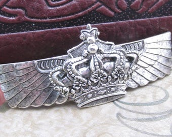 Crown Hair Clips Royal Princess Barrette Thick hair clips silver simple Art Nouveau style Hair Accessories Thick Hair French Barrette