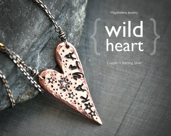 Wild Heart - Textured Copper Heart Name Tag Necklace