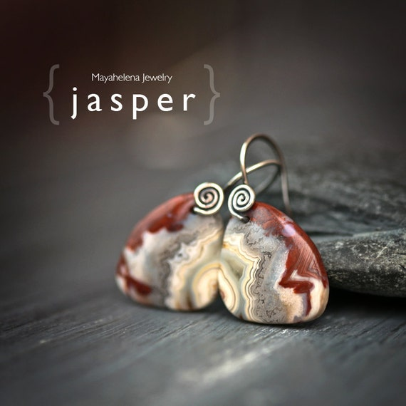 Jasper - Sterling Silver Minimalist Earrings