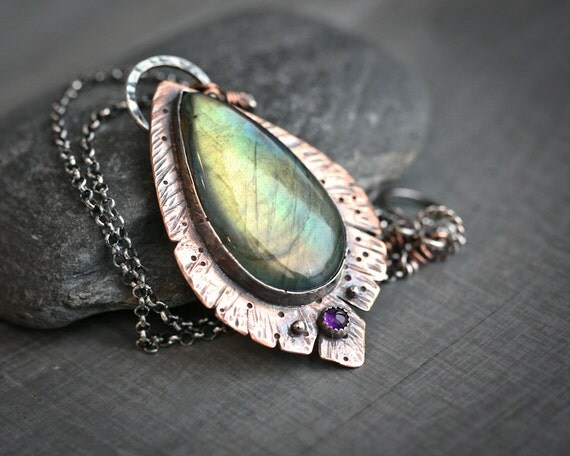 Birds of Copper Feather - Labradorite Set in Sterling and Copper with Amethyst Accent