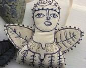Textile art - handmade embroidered angel, a lovely charming ornament, an original design