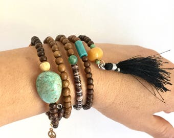 Mantra Wrap Bracelet with Wood, Turquoise and Shell-One of a kind
