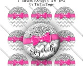 Editable Silver Glitter Pink Bow Chevron Bottle Cap Images Digital Set 1 Inch Circle 4x6 JPEG - Instant Download - BC579