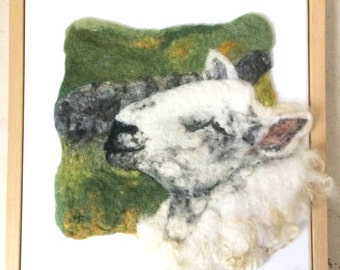 Original Wool Painting Sheep Needle Felted