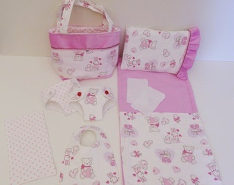 Bitty Baby Basics in Bitty Friends - Diaper Bag and Diapers with Blanket and Pillow for doll