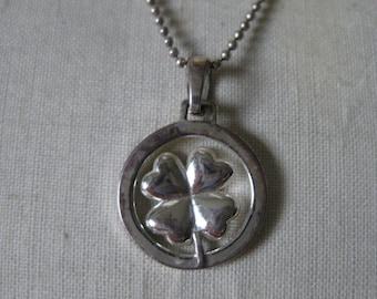 Four Leaf Clover Sterling Silver Necklace Shamrock The Greatest Fortune is Friendship Vintage Pendant 925