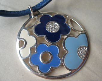 Flower Blue Sterling Necklace Silver Enamel Leather Vintage Pendant 925 Canada