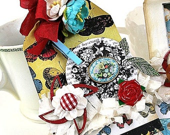 fancy cottage chic tag-butterflies and florals chipboard heavy duty tag