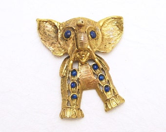 Vintage Elephant Pendant Huge Articulated D&E Vintage Jewelry C6171