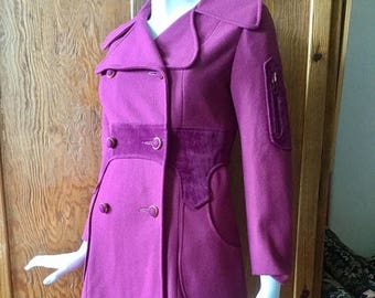 MOVING 4 GRADSCHOOL SALE Fabulous 1960's / 1970's purple double breasted coat, with velveteen paneling and broad collar, small - medium / si