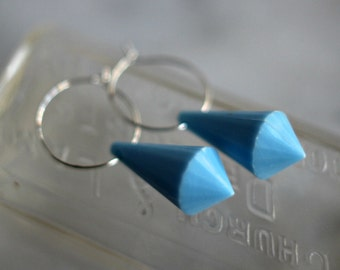 Pale Blue Drop Earrings, Silver Hoops, Light Blue Dangles, Faceted Lucite