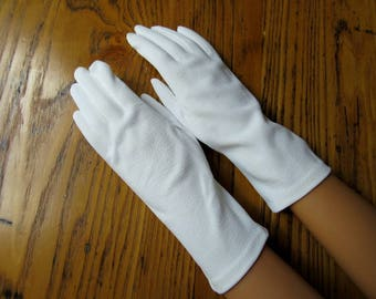 Hansen Pignylon Ivory Gloves, Leather-look,  Size 7, Dress Gloves, Bridal Gloves, Prom Gloves, Vintage White Gloves, Leather Textured Fabric