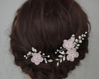 Pink Wedding Hair Accessories, Bridal Hair Flowers, Wedding Hair Pins, Flower Bridal Hair Combs, Flower and Vines Hair Pieces