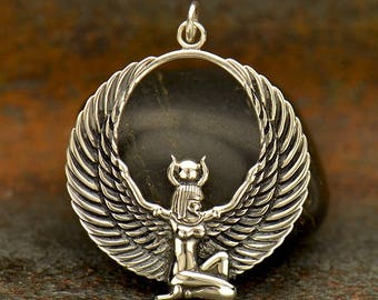 Egyptian Winged Goddess Necklace - Solid 925 Sterling Silver Isis Pendant - Insurance Included