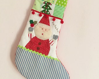 READY TO SHIP Christmas stocking santa blue stripe foot