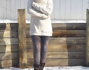 Interval cozy cowl sweater dress/tunic (hemp fleece)