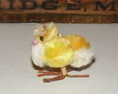 Vintage Yellow Pom Pom Chenille Chick wearing Millinery Flower Hat Wire Feet