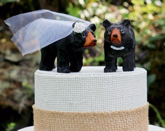 NEW! Handcarved Black Bear Wedding Cake Topper: Wooden Bride and Groom Cake Topper
