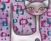 kitsch white Cat -  Pink Atomic - Mid Century Modern MCM - Abril Andrade kitty 1950's Retro painting