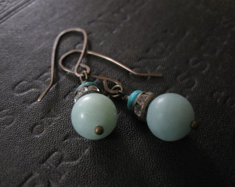 Amazonite Turquoise and Antique Rhinestone Earrings - Brass Ear Wires - Bridesmaid Gift - Something Blue