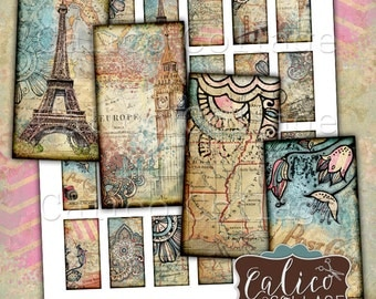 Printable, Travelin' Through, Domino Images, 1x2 Collage Sheet, Traveling Images, World Travels, Digital Download, CalicoCollage