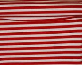 Red white stripes  stripes FAT HALF jersey cotton lycra knit