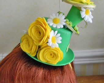 Tea for Two Mini Top Hat Headband,St.Paddy's Day,Wedding,Bridal Shower,Fascinator