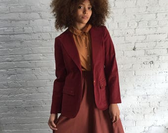 70s maroon blazer / 1970s fitted burgundy blazer / fitted denim blazer