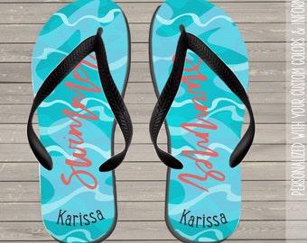 swimmers personalized flip flops  - summer flip flops womens  FFSN