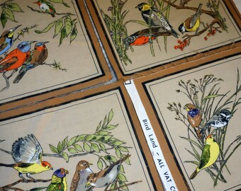 Bird Quilt Squares, Four Matching Panels in the Bird Land Print Plus One Extra with Birds Eating Berries, Bird Fabric Scraps for Project