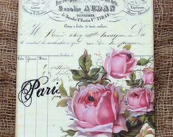 French Paris Rose Gift or Scrapbook Tags or Magnet #295