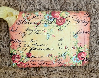 Vintage Style French Script Floral Gift or Scrapbook Tags or Magnet #413