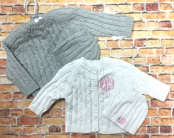 Infant Cardigan and Cap Set, Monogrammed Baby Sweater, Baby Shower Gift, New Baby Keepsake