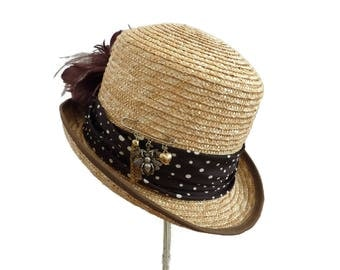 "Kentucky Derby Top Hat, Race Day Hat, Mad Hatter Summer Hat, Tea Party Hat, Burlesque Straw Hat in Natural Tone and Brown - ""Tally Ho"""